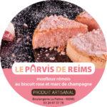 """Réalisation d'un sticker pour le packaging du moelleux aux biscuits roses de Reims """"Le Parvis"""""""