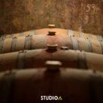 Fûts dans les caves du champagne André Tixier à Chigny-les-Roses